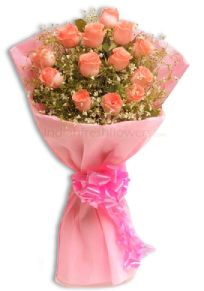 Beauty Of Pink 15 Pink Roses Bunch