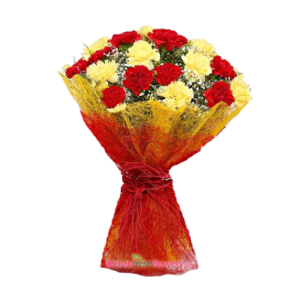 Lovable Carnation 15 Yellow & Red Carnation