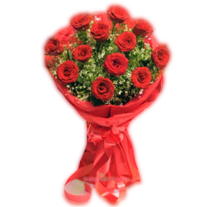 Lovable Red 12 Red Roses Bunch